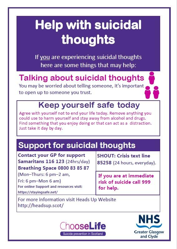 COVID 19 Coping with suicidal thoughts poster